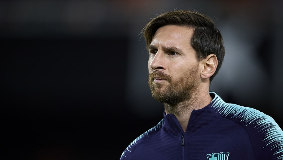 VALENCIA, SPAIN - OCTOBER 07:  Lionel Messi of Barcelona looks on prior the La Liga match between Valencia CF and FC Barcelona at Estadio Mestalla on October 7, 2018 in Valencia, Spain.  (Photo by Quality Sport Images/Getty Images)