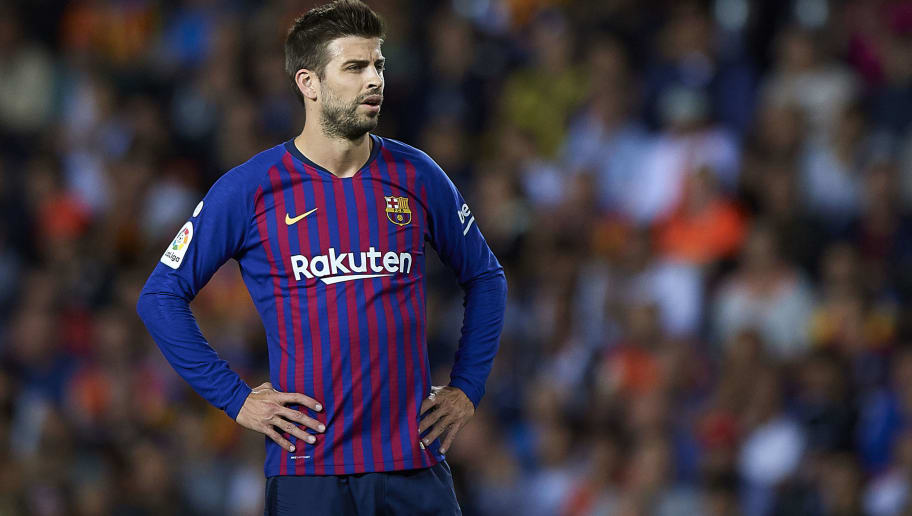 VALENCIA, SPAIN - OCTOBER 07:  Gerard Pique of Barcelona looks on during the La Liga match between Valencia CF and FC Barcelona at Estadio Mestalla on October 7, 2018 in Valencia, Spain.  (Photo by Quality Sport Images/Getty Images)