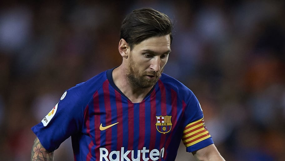 VALENCIA, SPAIN - OCTOBER 07:  Lionel Messi of Barcelona in action during the La Liga match between Valencia CF and FC Barcelona at Estadio Mestalla on October 7, 2018 in Valencia, Spain.  (Photo by Quality Sport Images/Getty Images)