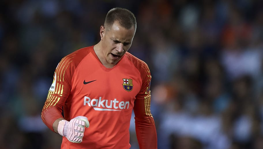 VALENCIA, SPAIN - OCTOBER 07:  Ter Stegen of Barcelona celebrates his team goal during the La Liga match between Valencia CF and FC Barcelona at Estadio Mestalla on October 7, 2018 in Valencia, Spain.  (Photo by Quality Sport Images/Getty Images)