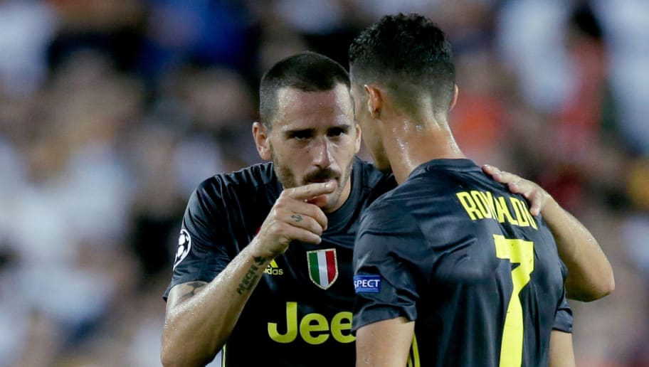 VALENCIA, SPAIN - SEPTEMBER 19: (L-R) Leonardo Bonucci of Juventus, Cristiano Ronaldo of Juventus  during the UEFA Champions League  match between Valencia v Juventus at the Estadio de Mestalla on September 19, 2018 in Valencia Spain (Photo by Jeroen Meuwsen/Soccrates/Getty Images)