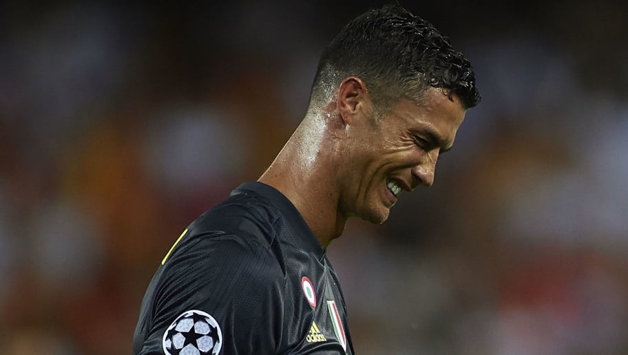 VALENCIA, SPAIN - SEPTEMBER 19:  Cristano Ronaldo of Juventus reacts after his red card during the Group H match of the UEFA Champions League between Valencia and Juventus at Estadio Mestalla on September 19, 2018 in Valencia, Spain.  (Photo by Manuel Queimadelos Alonso/Getty Images)