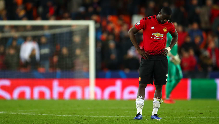 VALENCIA, SPAIN - DECEMBER 12: A dejected Eric Bailly of Manchester United reacts at full time during the UEFA Champions League Group H match between Valencia and Manchester United at Estadio Mestalla on December 12, 2018 in Valencia, Spain. (Photo by Robbie Jay Barratt - AMA/Getty Images)