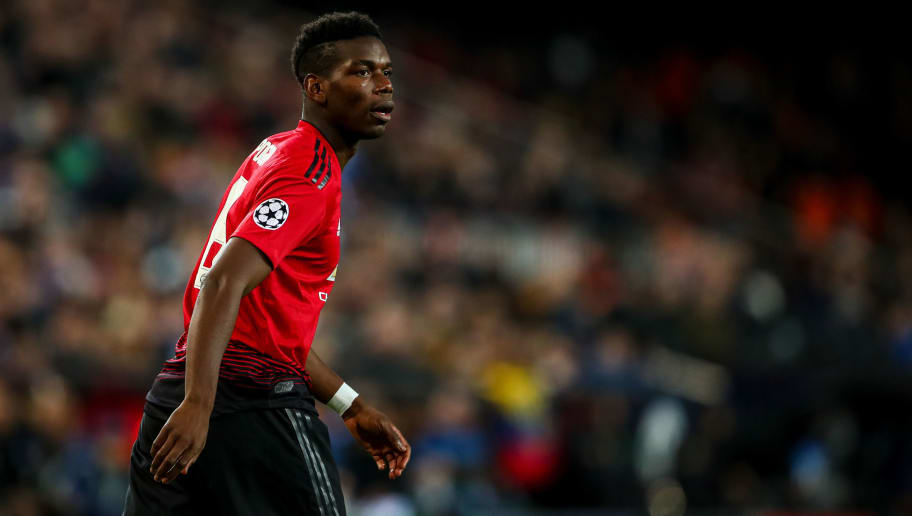 VALENCIA, SPAIN - DECEMBER 12: Paul Pogba of Manchester United during the UEFA Champions League Group H match between Valencia and Manchester United at Estadio Mestalla on December 12, 2018 in Valencia, Spain. (Photo by Robbie Jay Barratt - AMA/Getty Images)