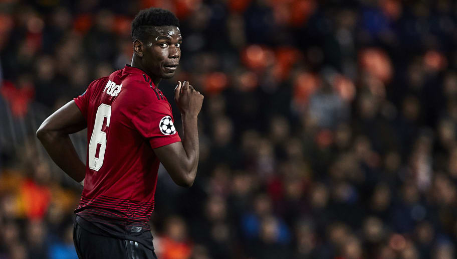 VALENCIA, SPAIN - DECEMBER 12: Paul Pogba of Manchester United reacts after missing a goal chance during the UEFA Champions League Group H match between Valencia and Manchester United at Estadio Mestalla on December 12, 2018 in Valencia, Spain. (Photo by Quality Sport Images/Getty Images)