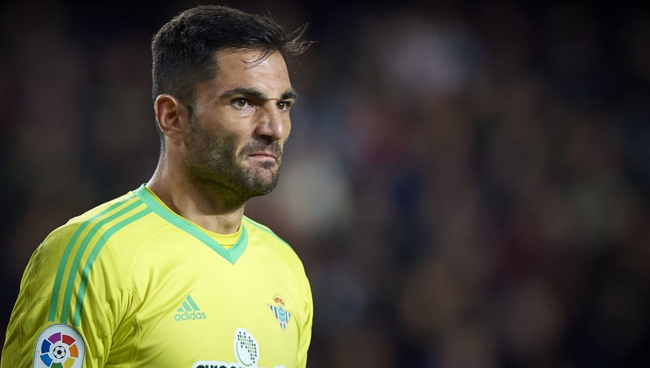 VALENCIA, SPAIN - MARCH 04:  Antonio Adan of Real Betis reacts during the La Liga match between Valencia and Real Betis at Mestalla Stadium on March 4, 2018 in Valencia, Spain.  (Photo by Quality Sport Images/Getty Images)
