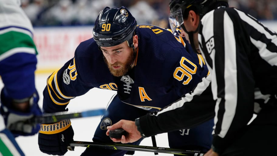 BUFFALO, NY - OCTOBER 20: Ryan O'Reilly #90 of the Buffalo Sabres during the game against the Vancouver Canucks at the KeyBank Center on October 20, 2017 in Buffalo, New York. (Photo by Kevin Hoffman/Getty Images)
