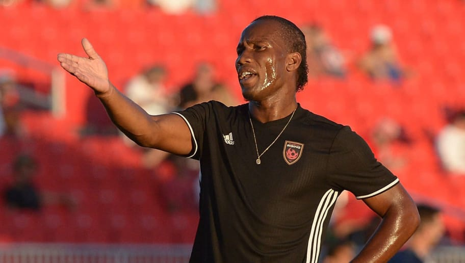 PHOENIX, AZ - JUNE 10:  Didier Drogba #11 of Phoenix Rising FC reacts during warm ups prior to the game against the Vancouver Whitecaps II at Phoenix Rising Soccer Complex on June 10, 2017 in Phoenix, Arizona.  (Photo by Jennifer Stewart/Getty Images)