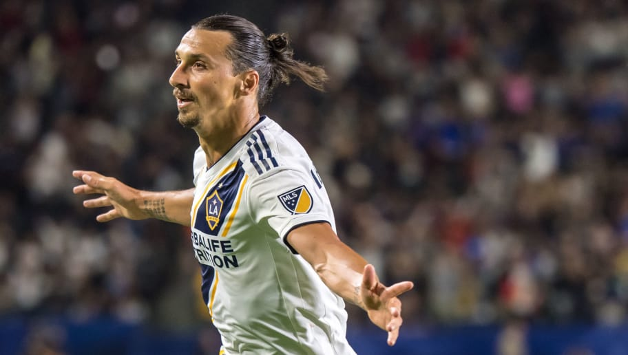 CARSON, CA - SEPTEMBER 29: Zlatan Ibrahimovic #9 of Los Angeles Galaxy celebrates his 2nd goal during the Los Angeles Galaxy's MLS match against Vancouver Whitecaps at the StubHub Center on September 29, 2018 in Carson, California.  The Los Angeles Galaxy won the match 3-0 (Photo by Shaun Clark/Getty Images)