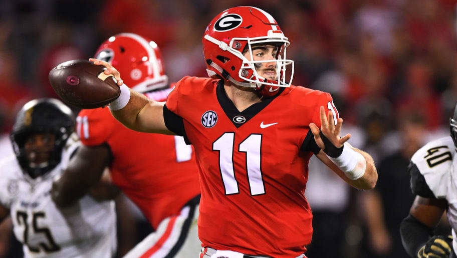 ATHENS, GA - OCTOBER 6: Jake Fromm #11 of the Georgia Bulldogs passes against the Vanderbilt Commodores on October 6, 2018 at Sanford Stadium in Athens, Georgia. (Photo by Scott Cunningham/Getty Images)