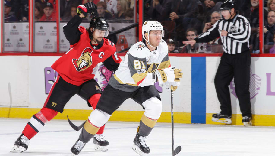 OTTAWA, ON - NOVEMBER 4: Erik Karlsson #65 of the Ottawa Senators chases Jonathan Marchessault #81 of the Vegas Golden Knights for the puck at Canadian Tire Centre on November 4, 2017 in Ottawa, Ontario, Canada.  (Photo by Jana Chytilova/Freestyle Photography/Getty Images) *** Local Caption ***