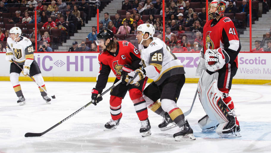 OTTAWA, ON - NOVEMBER 4: Craig Anderson #41 and Erik Karlsson #65 of the Ottawa Senators defend against William Carrier #28 of the Vegas Golden Knights at Canadian Tire Centre on November 4, 2017 in Ottawa, Ontario, Canada.  (Photo by Jana Chytilova/Freestyle Photography/Getty Images)
