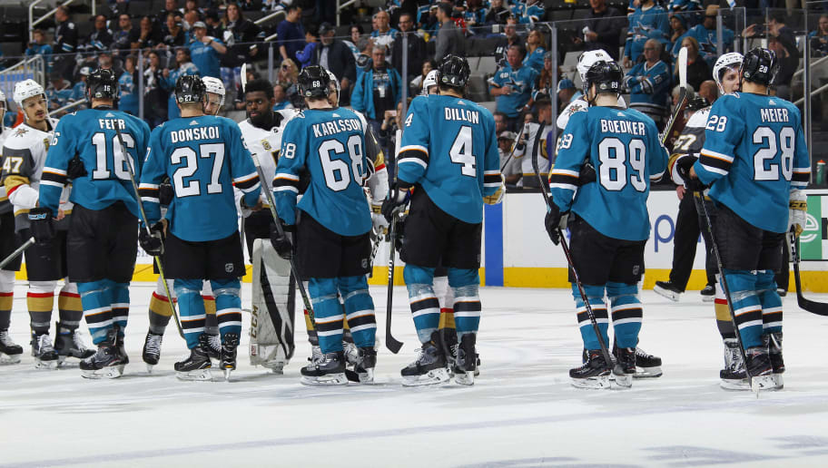 SAN JOSE, CA - MAY 06: The San Jose Sharks and Vegas Golden Knights shake hands after the game in Game Six of the Western Conference Second Round during the 2018 NHL Stanley Cup Playoffs at SAP Center on May 6, 2018 in San Jose, California. (Photo by Rocky W. Widner/NHL/Getty Images) *** Local Caption ***