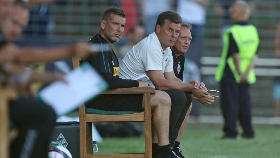 LUEBECK, GERMANY - JULY 13: Head coach Dieter Hecking of Moenchengladbach looks on during the pre-season friendly match between VfB Luebeck and Borussia Moenchengladbach at Stadion Lohmuehle on July 13, 2018 in Luebeck, Germany. (Photo by TF-Images/Getty Images)
