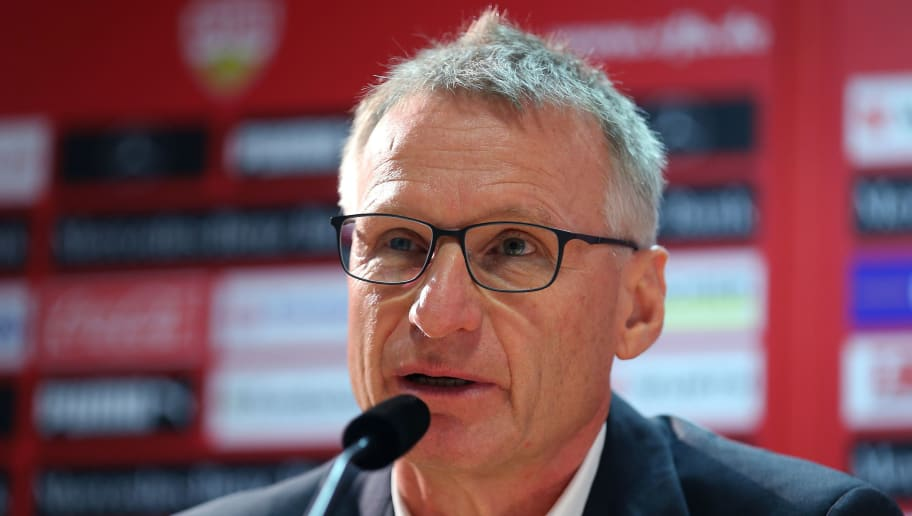 STUTTGART, GERMANY - OCTOBER 10:  Sporting director Michael Reschke of VfB Stuttgart is seen during a press conference at the club's training ground on October 10, 2018 in Stuttgart, Germany.  (Photo by Thomas Niedermueller/Bongarts/Getty Images)