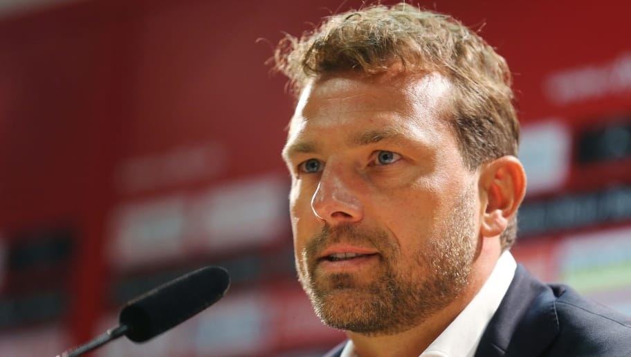 STUTTGART, GERMANY - OCTOBER 10:  Newly appointed head coach Markus Weinzierl of VfB Stuttgart attends a press conference at the club's training ground on October 10, 2018 in Stuttgart, Germany.  (Photo by Thomas Niedermueller/Bongarts/Getty Images)