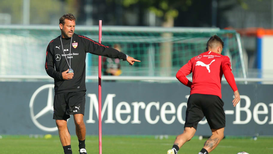 STUTTGART, GERMANY - OCTOBER 10:  Newly appointed head coach Markus Weinzierl of VfB Stuttgart is seen at his first training session at the club's training ground on October 10, 2018 in Stuttgart, Germany.  (Photo by Thomas Niedermueller/Bongarts/Getty Images)