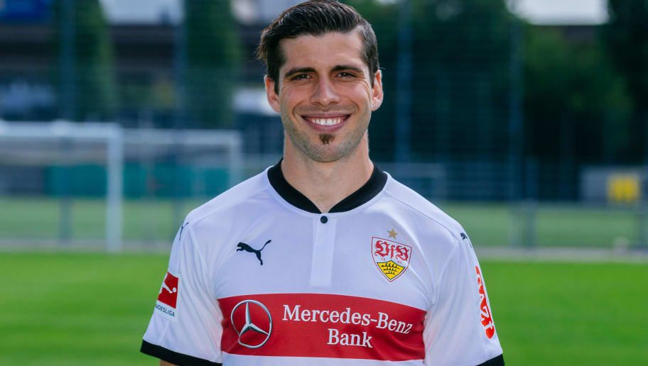 STUTTGART, GERMANY - JULY 21:  Emiliano Insua of VfB Stuttgart poses during the VfB Stuttgart team presentation at training ground on July 21, 2017 in Stuttgart, Germany.  (Photo by Thomas Niedermueller/Bongarts/Getty Images)