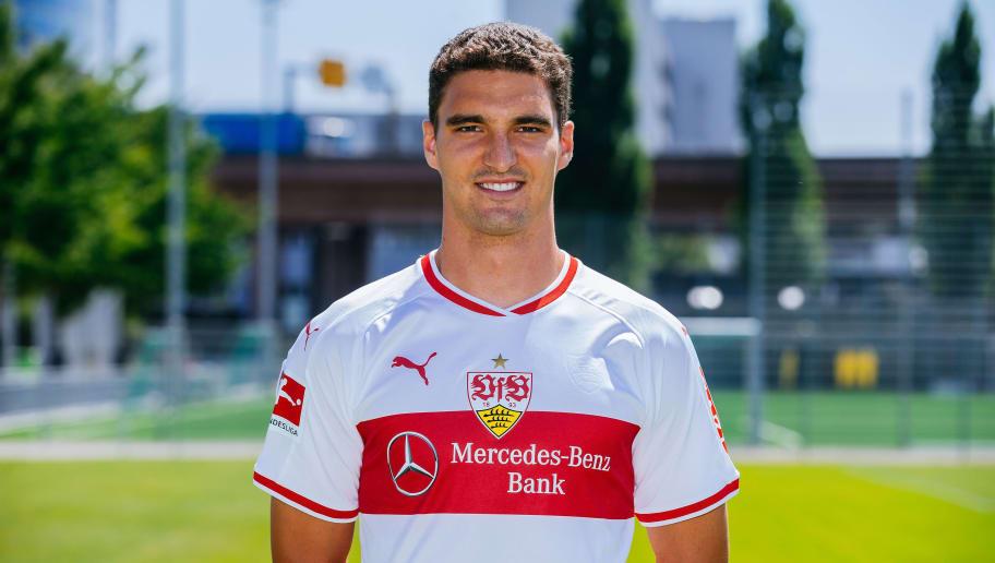STUTTGART, GERMANY - JULY 19:  Marcin Kaminski of VfB Stuttgart poses during the team presentation at  on July 19, 2018 in Stuttgart, Germany.  (Photo by Thomas Niedermueller/Bongarts/Getty Images)