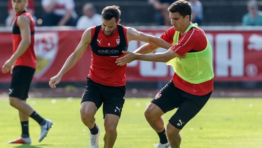 GRASSAU, GERMANY - JULY 28: Gonzalo Castro of Stuttgart and Marcin Kaminski of Stuttgart battle for the ball during the VfB Stuttgart training camp on July 28, 2018 in Grassau, Germany. (Photo by TF-Images/Getty Images)