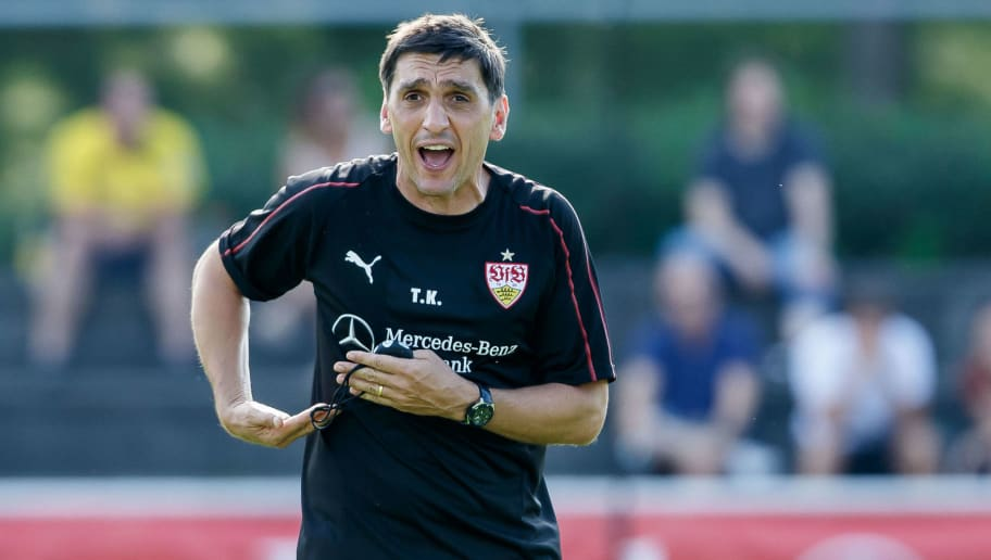 GRASSAU, GERMANY - JULY 28: Head coach Tayfun Korkut of Stuttgart gestures during the VfB Stuttgart training camp on July 28, 2018 in Grassau, Germany. (Photo by TF-Images/Getty Images)