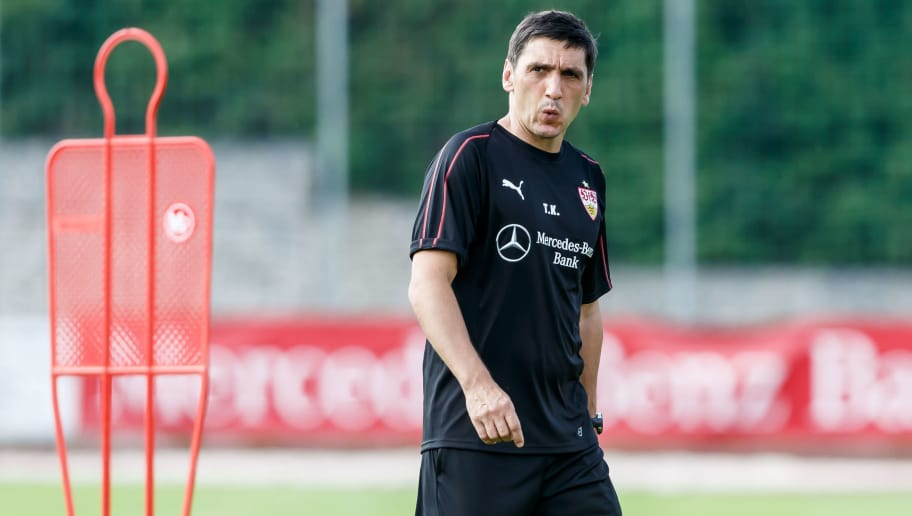 GRASSAU, GERMANY - JULY 28: Head coach Tayfun Korkut of Stuttgart looks on during the VfB Stuttgart training camp on July 28, 2018 in Grassau, Germany. (Photo by TF-Images/Getty Images)