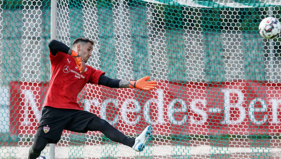 GRASSAU, GERMANY - JULY 28: Goalkeeper Jens Grahl of Stuttgart controls the ball during the VfB Stuttgart training camp on July 28, 2018 in Grassau, Germany. (Photo by TF-Images/Getty Images)