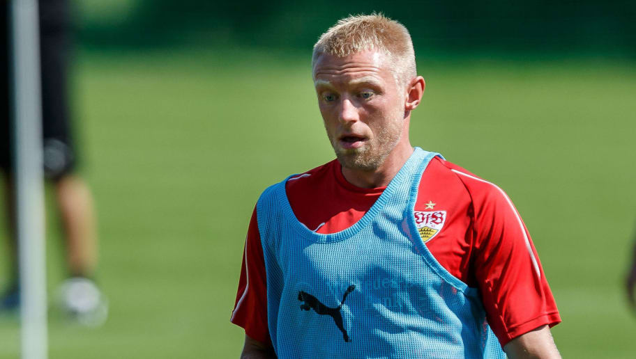 GRASSAU, GERMANY - JULY 28: Andreas Beck of Stuttgart looks on during the VfB Stuttgart training camp on July 28, 2018 in Grassau, Germany. (Photo by TF-Images/Getty Images)