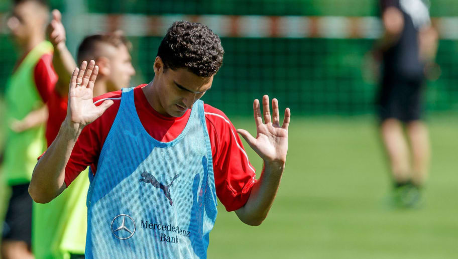 GRASSAU, GERMANY - JULY 28: Marcin Kaminski of Stuttgart gestures during the VfB Stuttgart training camp on July 28, 2018 in Grassau, Germany. (Photo by TF-Images/Getty Images)