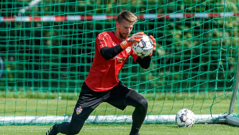 GRASSAU, GERMANY - JULY 28: Goalkeeper Ron-Robert Zieler of Stuttgart controls the ball during the VfB Stuttgart training camp on July 28, 2018 in Grassau, Germany. (Photo by TF-Images/Getty Images)