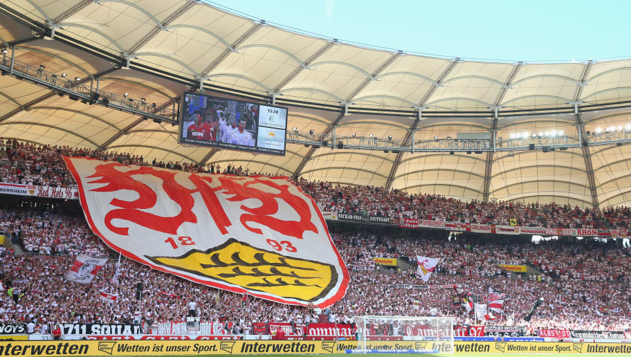 STUTTGART, GERMANY - AUGUST 30:  Supporters of Stuttgart dispaly the Stuttgart club logo prior to the Bundesliga match between VfB Stuttgart and 1. FC Koeln at Mercedes-Benz Arena on August 30, 2014 in Stuttgart, Germany.  (Photo by Alexander Hassenstein/Bongarts/Getty Images)