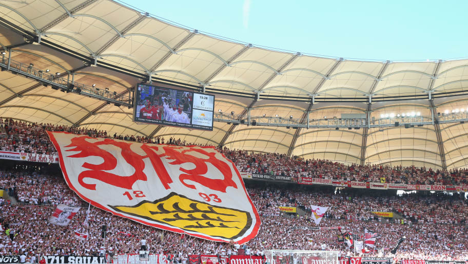 STUTTGART, GERMANY - AUGUST 30:  Supporters of Stuttgart dispaly the Stuttgart club logo prior to the Bundesliga match between VfB Stuttgart and 1. FC Koeln at Mercedes-Benz Arena on August 30, 2014 in Stuttgart, Germany.  (Photo by Alexander Hassenstein/Bongarts/Getty Images)
