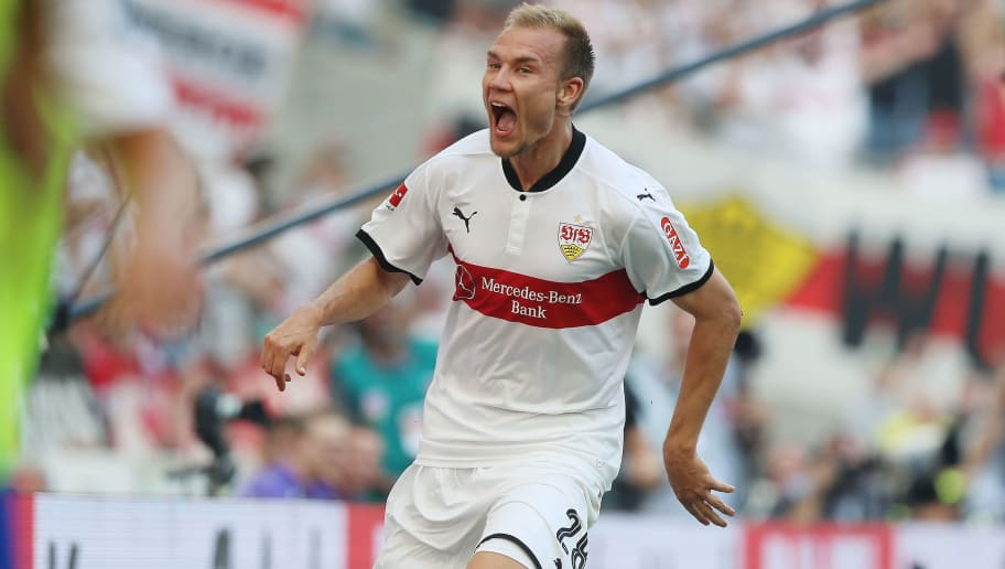 STUTTGART, GERMANY - AUGUST 26:  Holger Badstuber of Stuttgart celebrates his goal during the Bundesliga match between VfB Stuttgart and 1. FSV Mainz 05 at Mercedes-Benz Arena on August 26, 2017 in Stuttgart, Germany.  (Photo by Thomas Niedermueller/Bongarts/Getty Images)