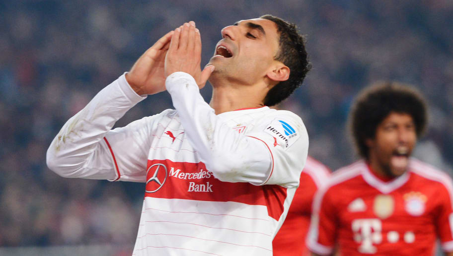 STUTTGART, GERMANY - JANUARY 29:  Mohammed Abdellaoue of VfB Stuttgart despairs after missing a chance at goal during the Bundesliga match between VfB Stuttgart and FC Bayern Muenchen at Mercedes-Benz Arena on January 29, 2014 in Stuttgart, Germany.  (Photo by Dennis Grombkowski/Bongarts/Getty Images)