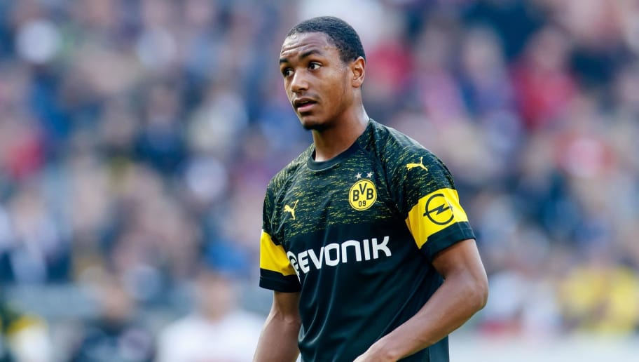 STUTTGART, GERMANY - OCTOBER 20: Abdou Diallo of Borussia Dortmund looks on during the Bundesliga match between VfB Stuttgart and Borussia Dortmund at Mercedes-Benz Arena on October 20, 2018 in Stuttgart, Germany. (Photo by TF-Images/Getty Images)