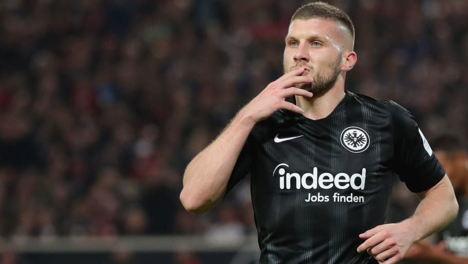 STUTTGART, GERMANY - NOVEMBER 02:  Ante Rebic  of Frankfurt celebrates scoring the 2nd team goal  during the Bundesliga match between VfB Stuttgart and Eintracht Frankfurt at Mercedes-Benz Arena on November 2, 2018 in Stuttgart, Germany.  (Photo by Alexander Hassenstein/Bongarts/Getty Images)