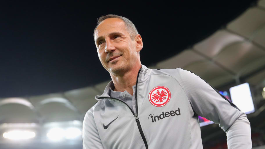 STUTTGART, GERMANY - NOVEMBER 02:  Adi Huetter, head coach of Frankfurt looks on prior to the Bundesliga match between VfB Stuttgart and Eintracht Frankfurt at Mercedes-Benz Arena on November 2, 2018 in Stuttgart, Germany.  (Photo by Alexander Hassenstein/Bongarts/Getty Images)