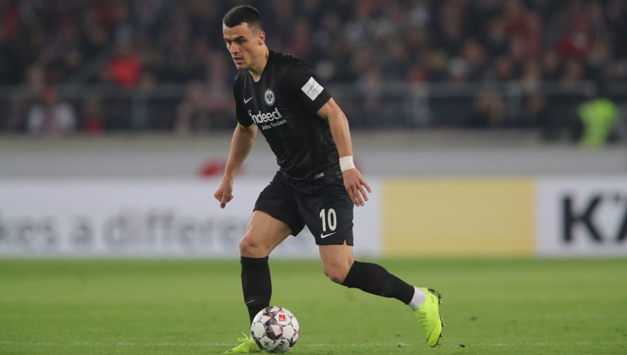 STUTTGART, GERMANY - NOVEMBER 02:  Filip Kostic of Frankfurt runs with the ball during the Bundesliga match between VfB Stuttgart and Eintracht Frankfurt at Mercedes-Benz Arena on November 2, 2018 in Stuttgart, Germany.  (Photo by Alexander Hassenstein/Bongarts/Getty Images)