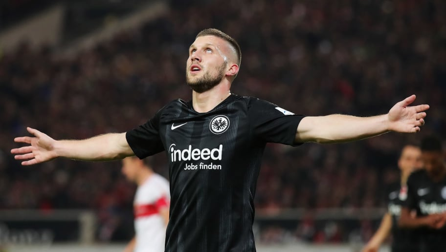 STUTTGART, GERMANY - NOVEMBER 02:  Ante Rebic of Eintracht Frankfurt celebrates scoring his teams second goal of the game during the Bundesliga match between VfB Stuttgart and Eintracht Frankfurt at Mercedes-Benz Arena on November 2, 2018 in Stuttgart, Germany.  (Photo by Alexander Hassenstein/Bongarts/Getty Images)