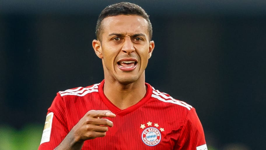 STUTTGART, GERMANY - SEPTEMBER 01: Thiago Alcantara of Bayern Muenchen  gestures  during the Bundesliga match between VfB Stuttgart and FC Bayern Muenchen at Mercedes-Benz Arena on September 1, 2018 in Stuttgart, Germany. (Photo by TF-Images/Getty Images)