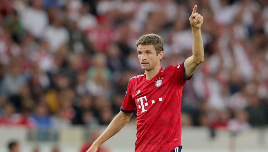 STUTTGART, GERMANY - SEPTEMBER 01:  Thomas Mueller of FC Bayern Muenchen reacts during the Bundesliga match between VfB Stuttgart and FC Bayern Muenchen at Mercedes-Benz Arena on September 1, 2018 in Stuttgart, Germany.  (Photo by Alexander Hassenstein/Bongarts/Getty Images)
