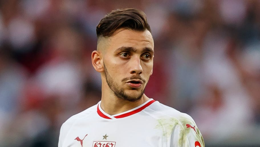 STUTTGART, GERMANY - SEPTEMBER 01: Anastasios Donis of Stuttgart  looks on  during the Bundesliga match between VfB Stuttgart and FC Bayern Muenchen at Mercedes-Benz Arena on September 1, 2018 in Stuttgart, Germany. (Photo by TF-Images/Getty Images)