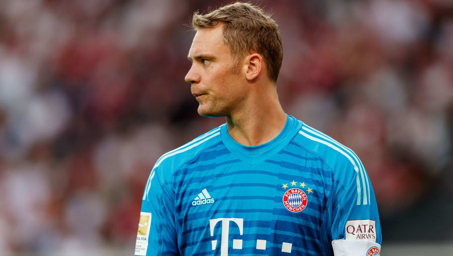 STUTTGART, GERMANY - SEPTEMBER 01: Goalkeeper  Manuel Neuer of Bayern Muenchen  looks on  during the Bundesliga match between VfB Stuttgart and FC Bayern Muenchen at Mercedes-Benz Arena on September 1, 2018 in Stuttgart, Germany. (Photo by TF-Images/Getty Images)