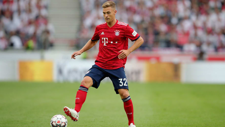 STUTTGART, GERMANY - SEPTEMBER 01:  Joshua Kimmich of FC Bayern Muenchen runs with the ball during the Bundesliga match between VfB Stuttgart and FC Bayern Muenchen at Mercedes-Benz Arena on September 1, 2018 in Stuttgart, Germany.  (Photo by Alexander Hassenstein/Bongarts/Getty Images)