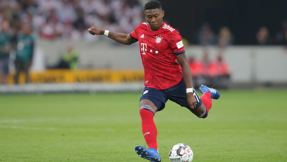 STUTTGART, GERMANY - SEPTEMBER 01:  David Alaba  of FC Bayern Muenchen runs with the ball during the Bundesliga match between VfB Stuttgart and FC Bayern Muenchen at Mercedes-Benz Arena on September 1, 2018 in Stuttgart, Germany.  (Photo by Alexander Hassenstein/Bongarts/Getty Images)