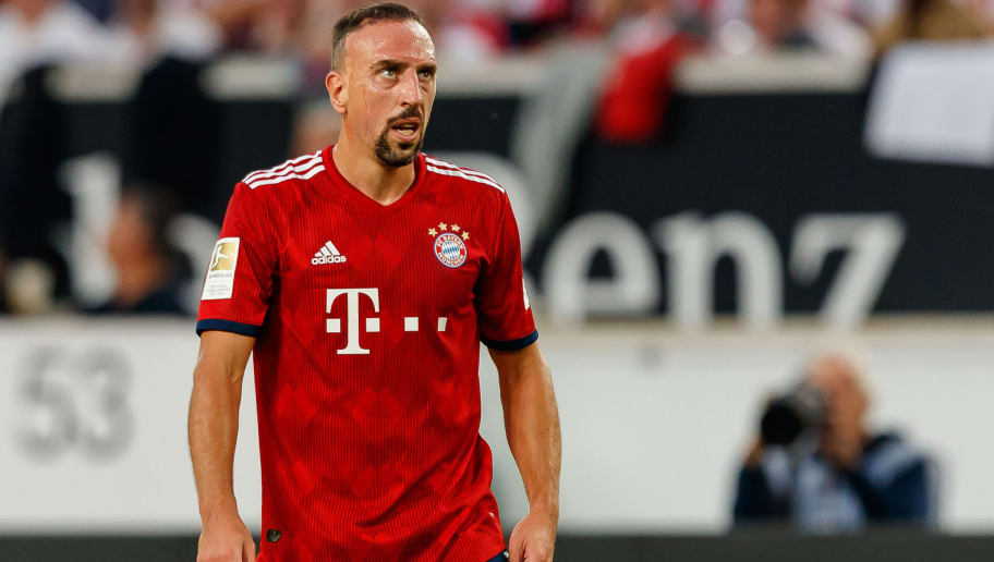 STUTTGART, GERMANY - SEPTEMBER 01: Franck Ribery of Bayern Muenchen  looks on  during the Bundesliga match between VfB Stuttgart and FC Bayern Muenchen at Mercedes-Benz Arena on September 1, 2018 in Stuttgart, Germany. (Photo by TF-Images/Getty Images)