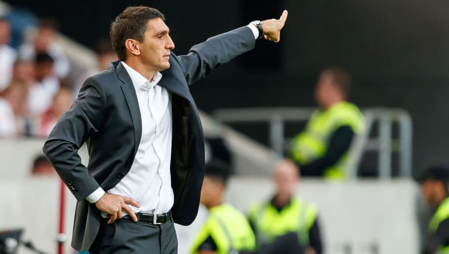 STUTTGART, GERMANY - SEPTEMBER 01: Head coach  Tayfun Korkut of Stuttgart  gestures  during the Bundesliga match between VfB Stuttgart and FC Bayern Muenchen at Mercedes-Benz Arena on September 1, 2018 in Stuttgart, Germany. (Photo by TF-Images/Getty Images)