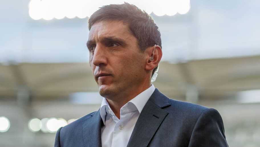 STUTTGART, GERMANY - SEPTEMBER 01: Head coach  Tayfun Korkut of Stuttgart  looks on  prior  the Bundesliga match between VfB Stuttgart and FC Bayern Muenchen at Mercedes-Benz Arena on September 1, 2018 in Stuttgart, Germany. (Photo by TF-Images/Getty Images)