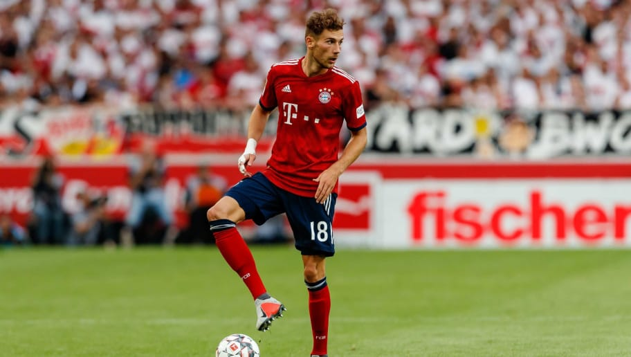 STUTTGART, GERMANY - SEPTEMBER 01: Leon Goretzka of Bayern Muenchen  controls the ball  during the Bundesliga match between VfB Stuttgart and FC Bayern Muenchen at Mercedes-Benz Arena on September 1, 2018 in Stuttgart, Germany. (Photo by TF-Images/Getty Images)