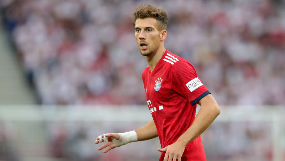 STUTTGART, GERMANY - SEPTEMBER 01:  Leon Goretzka of FC Bayern Muenchen runs during the Bundesliga match between VfB Stuttgart and FC Bayern Muenchen at Mercedes-Benz Arena on September 1, 2018 in Stuttgart, Germany.  (Photo by Alexander Hassenstein/Bongarts/Getty Images)